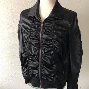 Torrid zip front black satin jacket